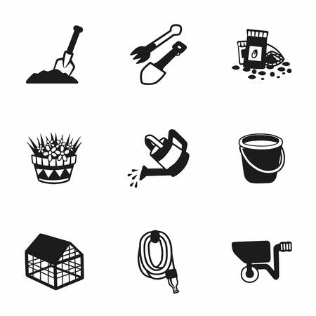 bucket and spade: Vector gardening icon set on white background Illustration