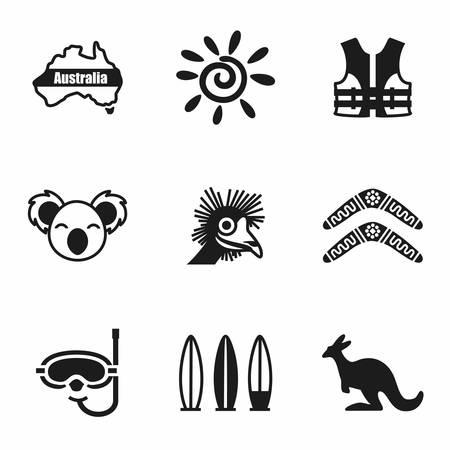 Vector Australia icon set on white background