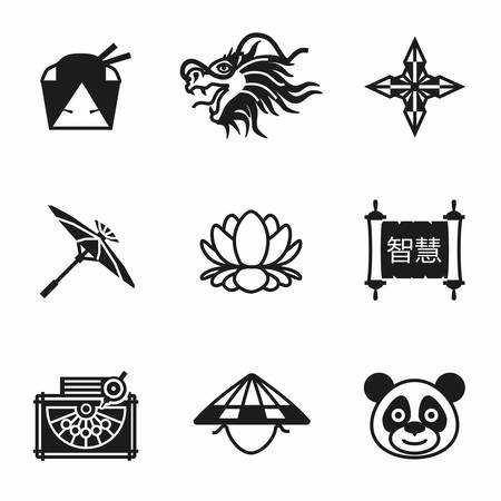 china icon: Vector China icon set on white background