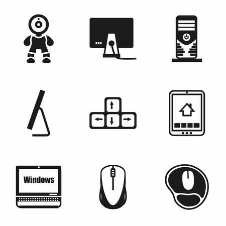 computer icon set: Vector Computer icon set on white background