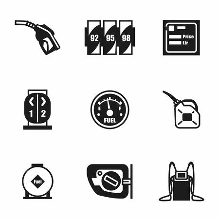 fossil fuel: Vector Gas station icon set on white background