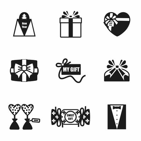 giftware: Vector Gift icon set on white background