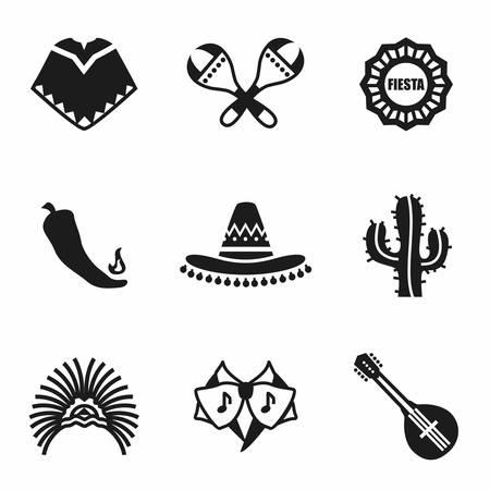 Vector Mexico icon set on white background  イラスト・ベクター素材