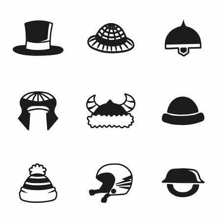 habiliment: Vector helmet and hat icon set on white background