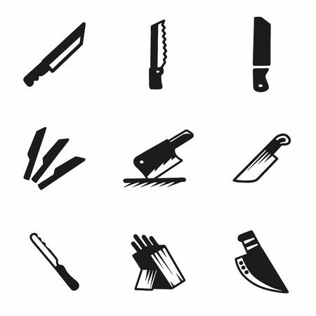 slash: Vector kitchen knife icon set on white background Illustration