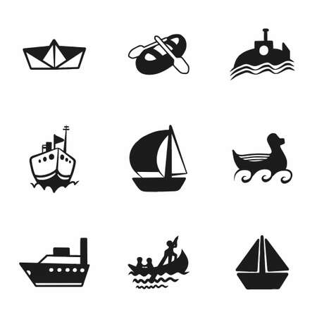 brigantine: Vector ship and boat icon set on white background Illustration