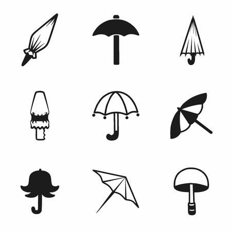 beach closed: Vector umbrella icon set on white background