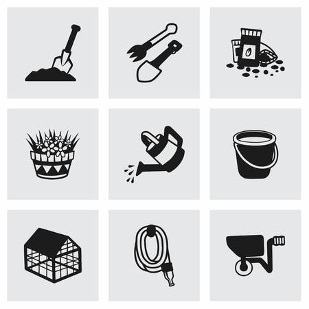 gardening hoses: Vector gardening icon set on grey background Illustration