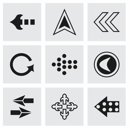 navigation pictogram: Vector Arrows icon set on grey background