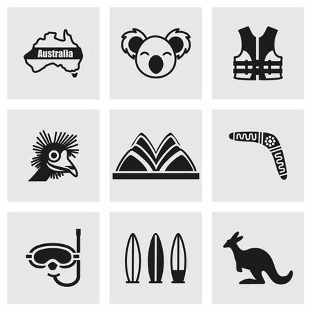 koala: Vector Australia conjunto de iconos sobre fondo gris Vectores