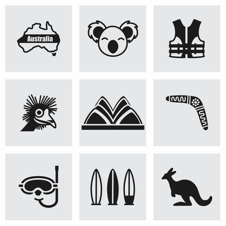 australia: Vector Australia icon set on grey background Illustration