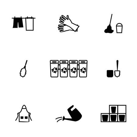 hoover: Vector Cleaning icon set on white background Illustration