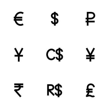 renminbi: Vector Currency symbol icon set on white background Illustration