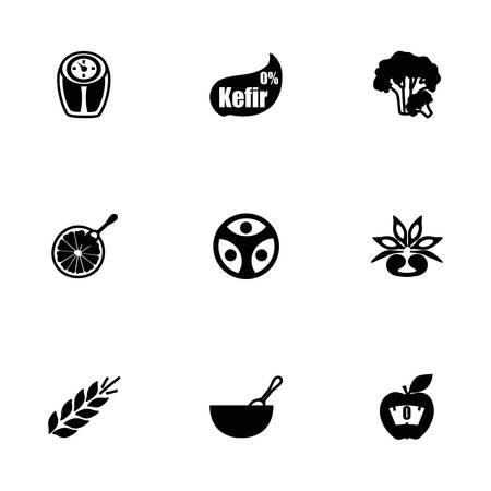 food hygiene: Vector Diet icon set on white background