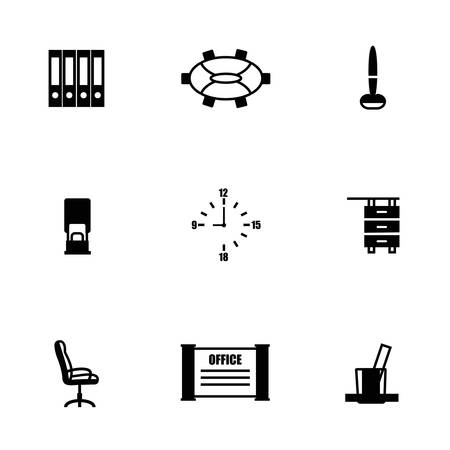 webcamera: Vector Office icon set on white background