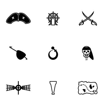 barrel bomb: Vector Pirate icon set on white background