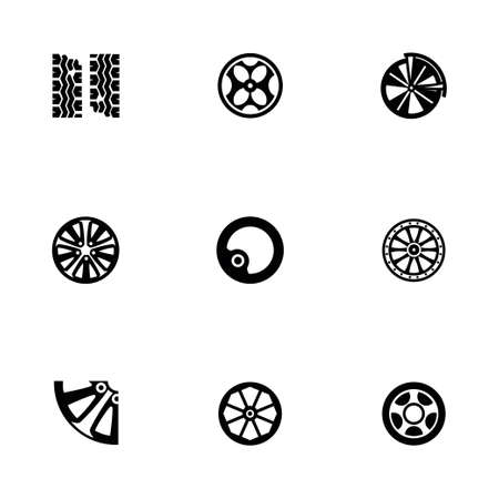 alloy wheel: Vector Wheel icon set on white background