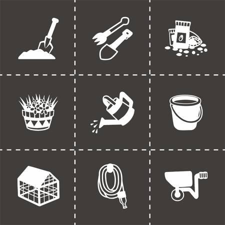 gardening hose: Vector gardening icon set on black background