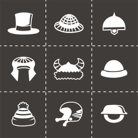 habiliment: Vector helmet and hat icon set on black background Illustration