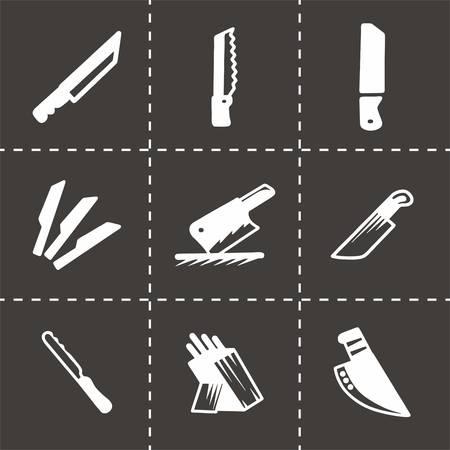 slash: Vector kitchen knife icon set on black background