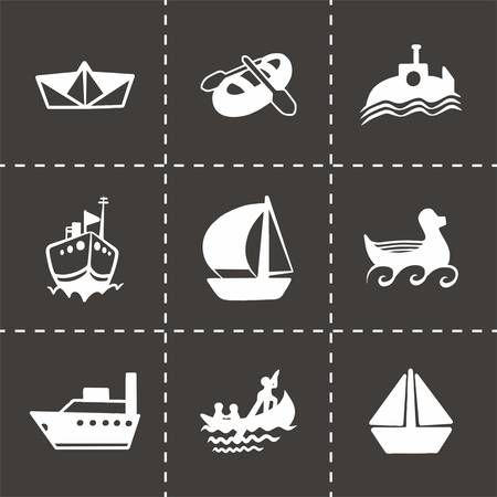 brigantine: Vector ship and boat icon set on black background Illustration