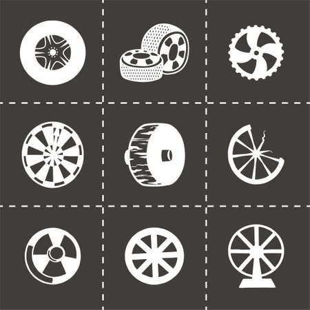 alloy wheel: Vector wheel icon set on black background