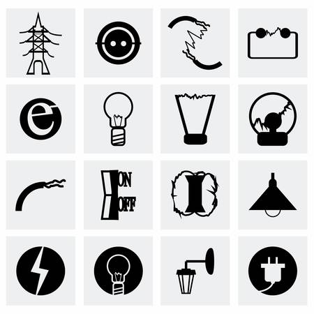 electricity meter: Vector Electricity icon set on grey background
