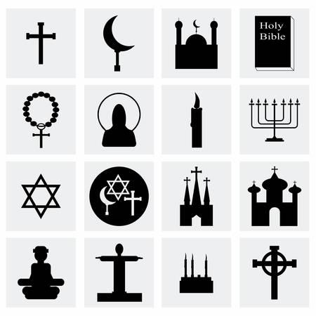 church group: Vector Religion icon set on grey background Illustration