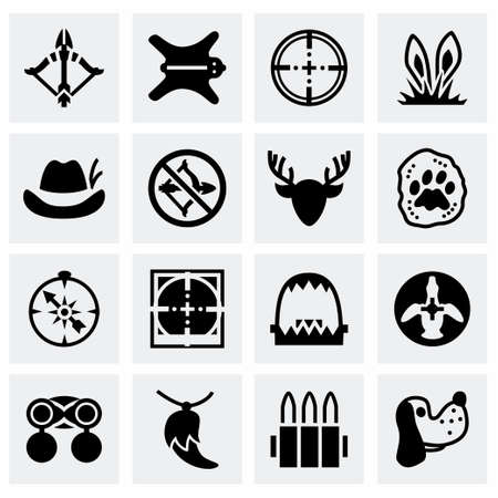 wildlife shooting: Vector Hunting icon set on grey background