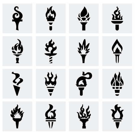 flaming torch: Vector Torch icon set on grey background