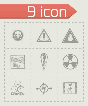 gas mask warning sign: Vector Danger icon set on grey background