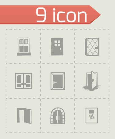 door icon: Vector door icon set on grey background