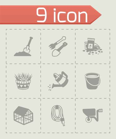 gardening hoses: Vector gardening icon set on grey background Illustration