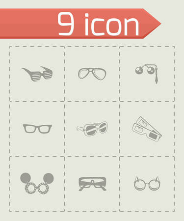 ocular: Vector Glasses icon set on grey background