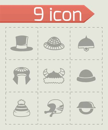 habiliment: Vector helmet and hat icon set on grey background