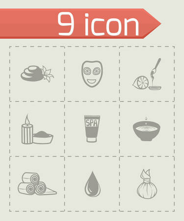 skin oil: Vector Spa icon set on grey background