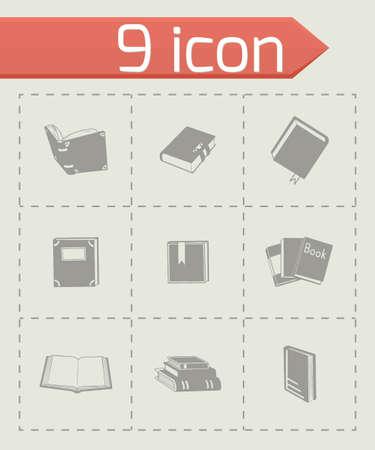 epublishing: Vector Book icon set on grey background