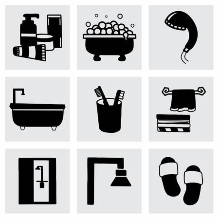 bathroom icon: Vector Bathroom icon set on grey background Illustration