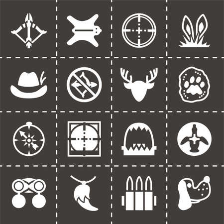 wildlife shooting: Vector Hunting icon set on black background