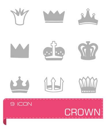 coronation: Vector crown icon set on grey background Illustration