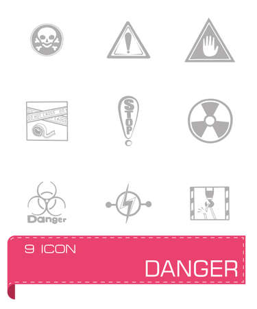 explosive gas: Vector Danger icon set on grey background