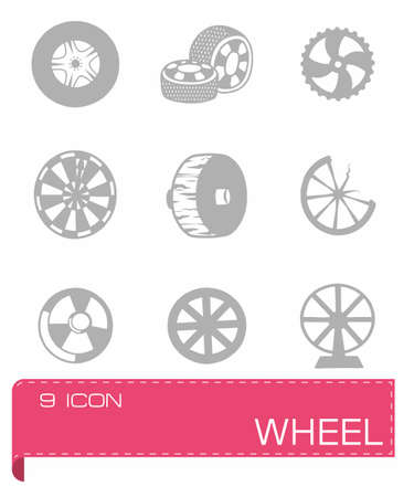 alloy wheel: Vector wheel icon set on grey background Illustration