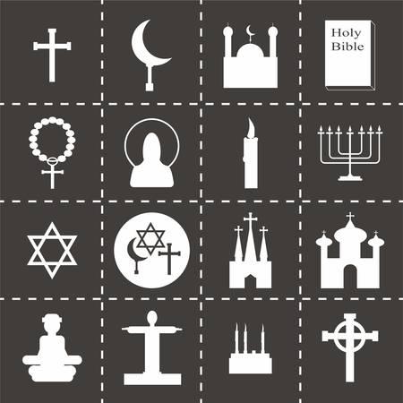 church group: Vector Religion icon set on black background Illustration