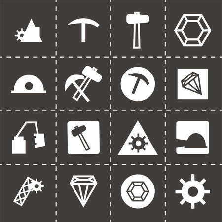 fire pit: Vector mining icon set on black background