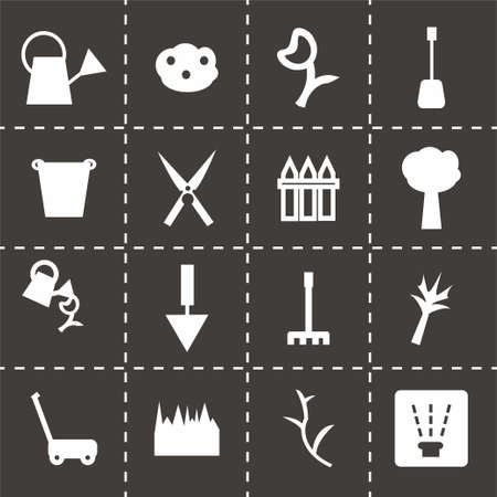 carrot tree: Vector Gardening icon set on black background Illustration