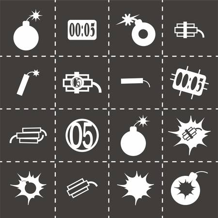 nuclear weapons: Vector bomb icon set on black background