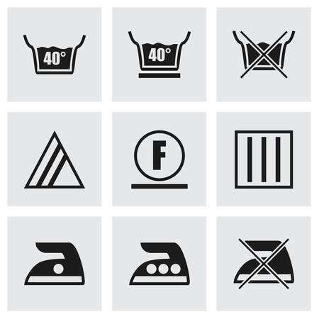 bleach: Vector Washing signs icon set on grey background