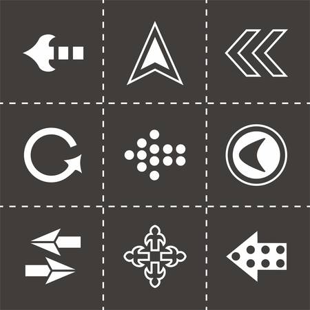 electric hole: Vector Arrows icon set on black background
