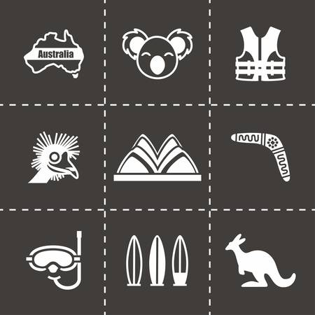 wooden boomerang: Vector Australia icon set on black background