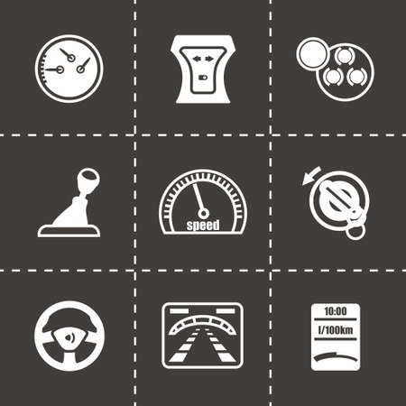 dashboard: Vector Car dashboard icon set on black background